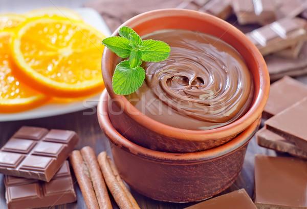 Chocolate alimentos madera naturaleza fondo naranja Foto stock © tycoon