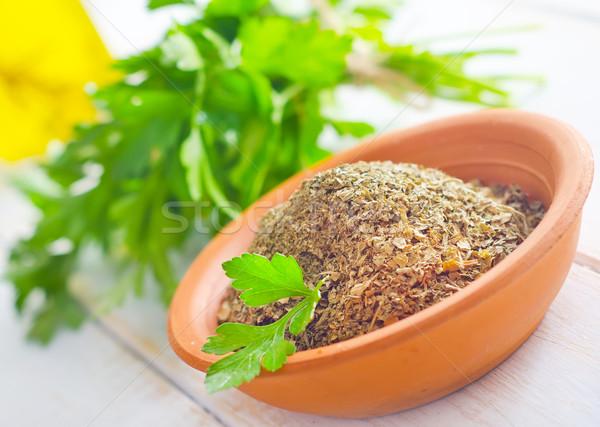 Drogen peterselie kom groene voedsel natuur Stockfoto © tycoon