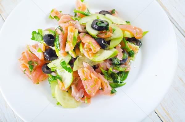Salata somon yeşil yağ akşam yemeği plaka Stok fotoğraf © tycoon