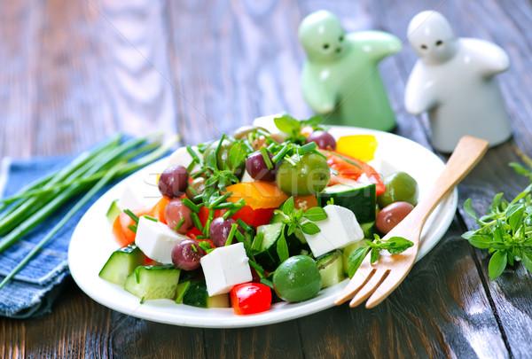 ギリシャ語 サラダ 新鮮な 白 プレート 葉 ストックフォト © tycoon