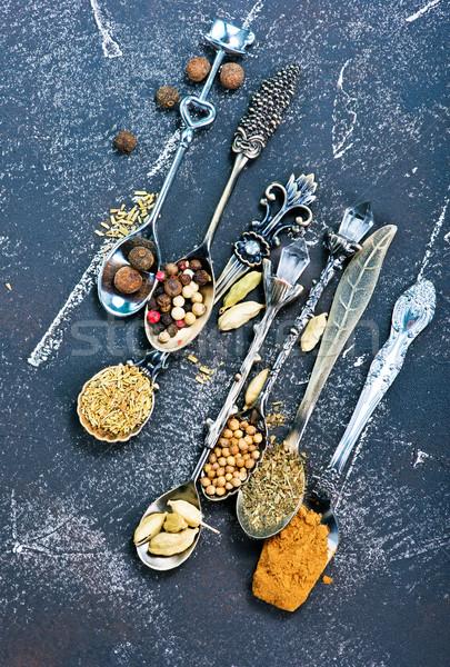 Baharat lezzet kuru otlar siyah tablo Stok fotoğraf © tycoon