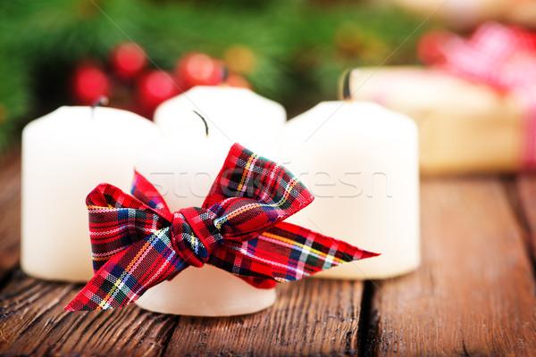 Natale candele nastro tavola decorazione morte Foto d'archivio © tycoon