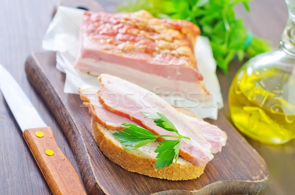 Brood spek diner vlees ontbijt vet Stockfoto © tycoon
