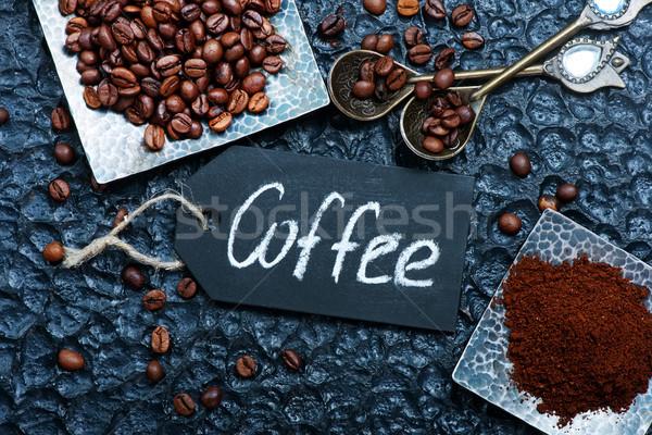 Koffie koffiebonen tabel voorraad foto cafe Stockfoto © tycoon