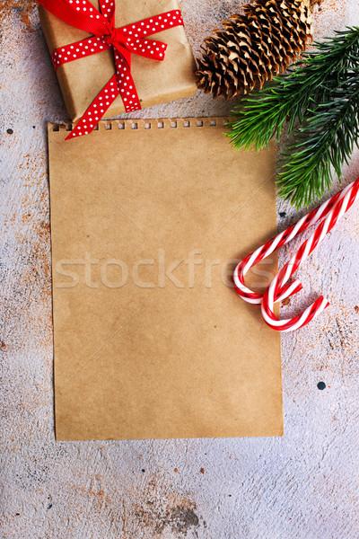 Natal presentes papel árvore comida projeto Foto stock © tycoon