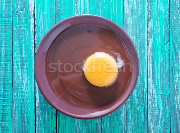 Yumurta ahşap güneş plaka karanlık Stok fotoğraf © tycoon