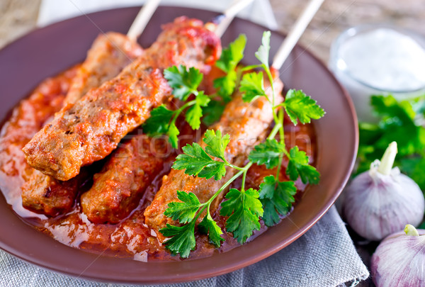 Paradicsomszósz tányér étel levél piros kövér Stock fotó © tycoon