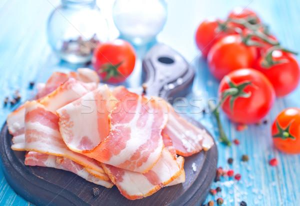 Foto stock: Bacon · madeira · vermelho · gordura · cozinhar · conselho