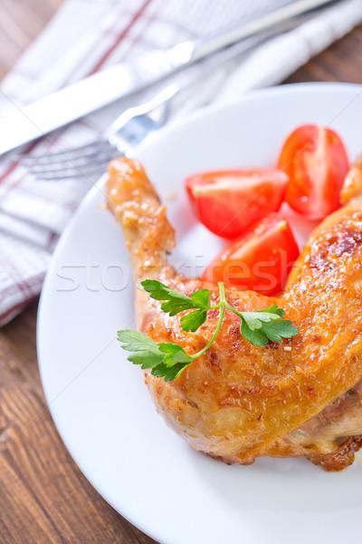 Frango assado em frango jantar branco almoço Foto stock © tycoon