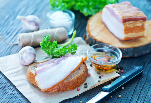 smoked lard with bread  Stock photo © tycoon