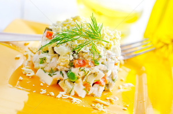 fresh salad  with chicken and boiled vegetables Stock photo © tycoon
