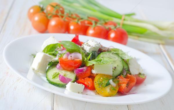 Grecki Sałatka liści ser czerwony tablicy Zdjęcia stock © tycoon