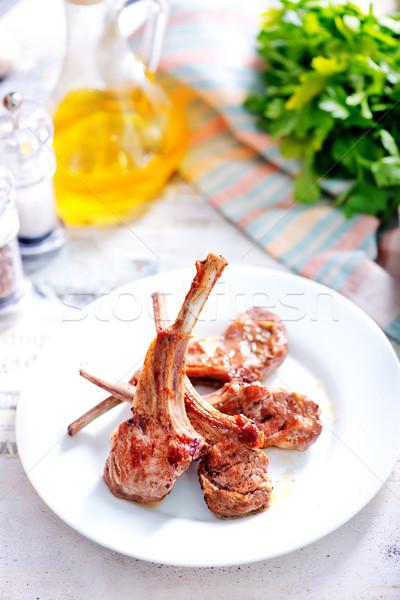 Stock fotó: Sült · kotlett · hús · fűszer · asztal · étel