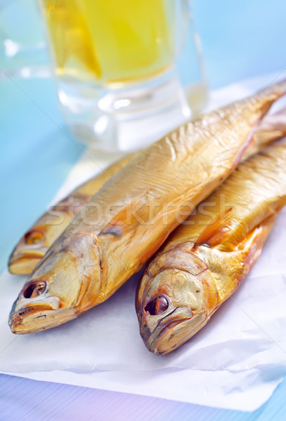 smoked fish with beer Stock photo © tycoon