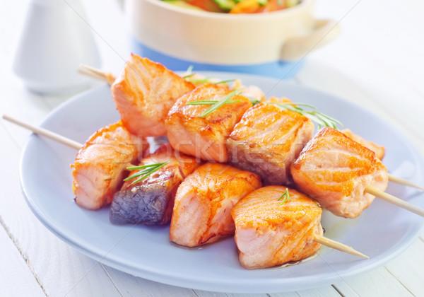 Stok fotoğraf: Somon · kebap · gıda · turuncu · beyaz · öğle · yemeği