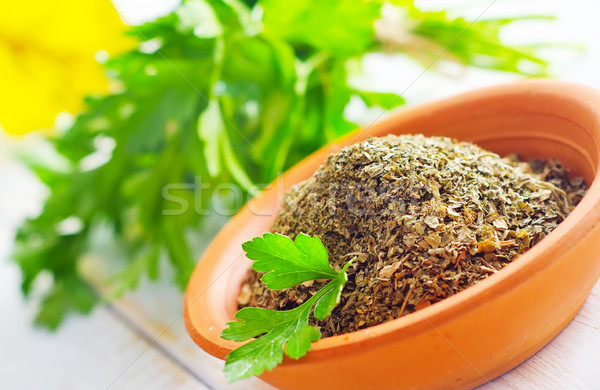 Secar perejil tazón verde alimentos vidrio Foto stock © tycoon