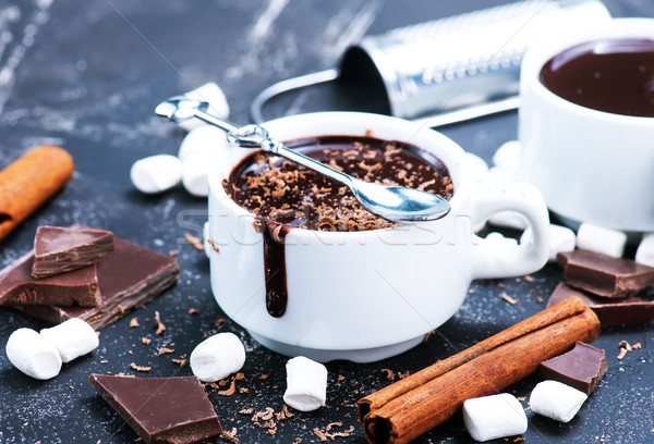Forró csokoládé csésze asztal étel tej ősz Stock fotó © tycoon