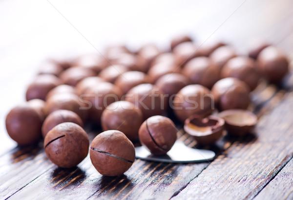 Diók fából készült friss csoport labda kagyló Stock fotó © tycoon