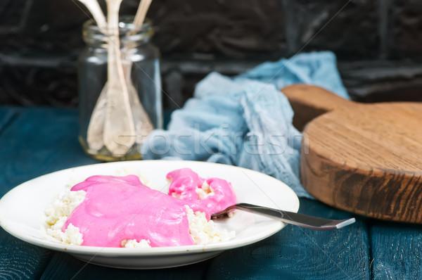Słodkie domek tablicy tabeli śniadanie jedzenie Zdjęcia stock © tycoon