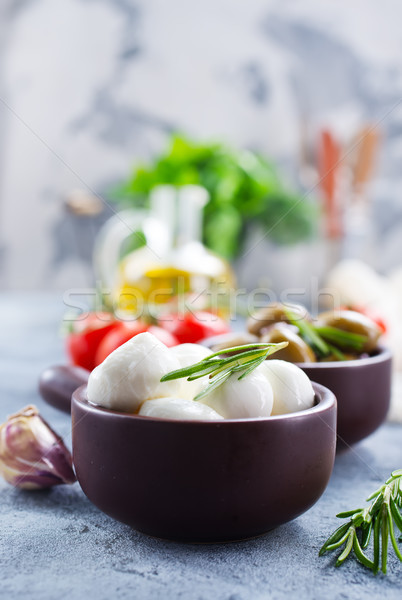 Ингредиенты салат Капрезе таблице древесины лист обеда Сток-фото © tycoon