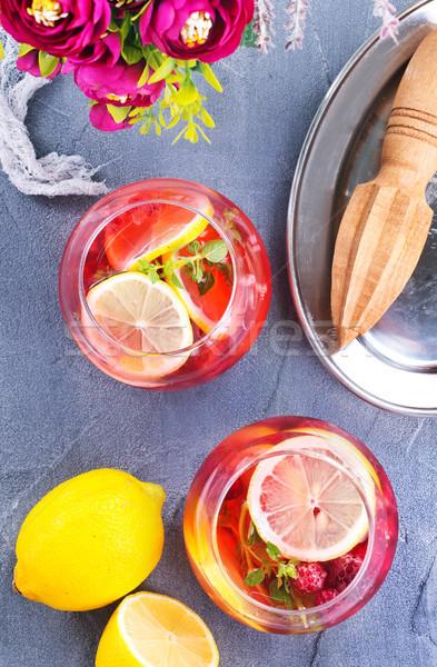 Lampone tavola stock foto vetro estate Foto d'archivio © tycoon
