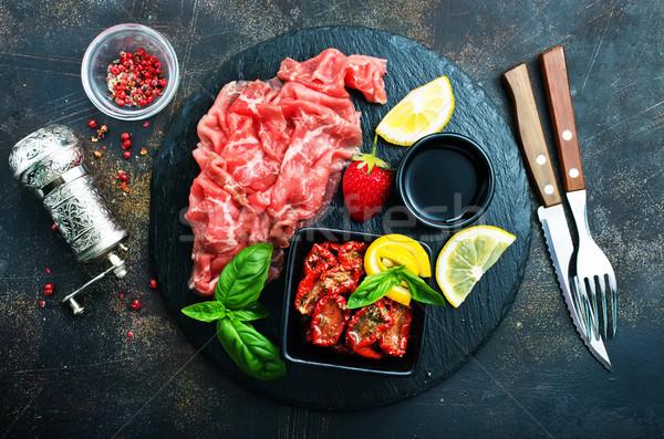 Foto stock: Prosciutto · fatias · italiano · fresco · manjericão · secar