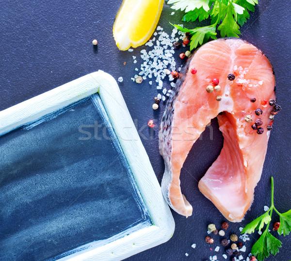 Crudo salmón textura alimentos peces mar Foto stock © tycoon