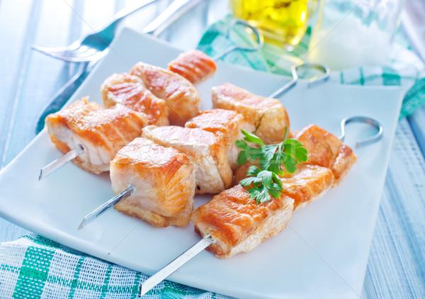 Salmão quibe peixe laranja vermelho vegetal Foto stock © tycoon