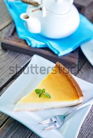Cheesecake taze reçel beyaz plaka kalp Stok fotoğraf © tycoon