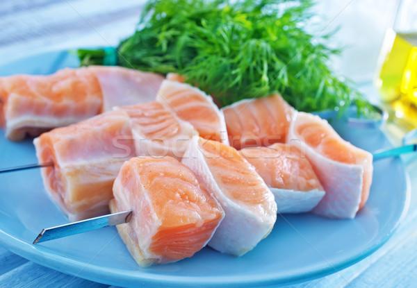 Zalm kebab textuur voedsel vis Rood Stockfoto © tycoon