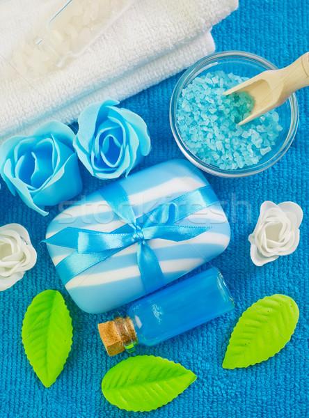 Tenger olaj virágok egészség kék pihen Stock fotó © tycoon