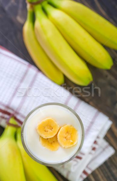 Muz yoğurt çanak tablo sağlık süt Stok fotoğraf © tycoon