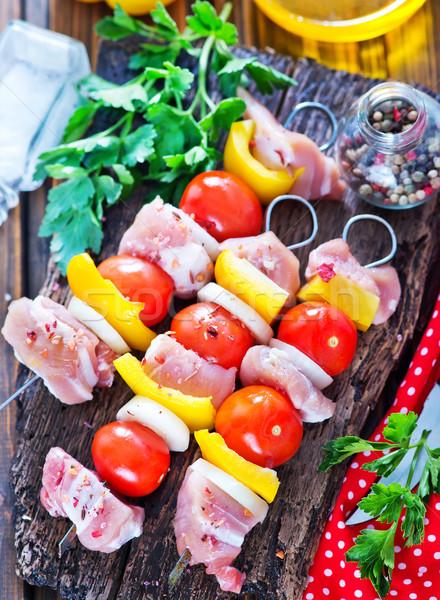 Nyers kebab tábla asztal étel vacsora Stock fotó © tycoon
