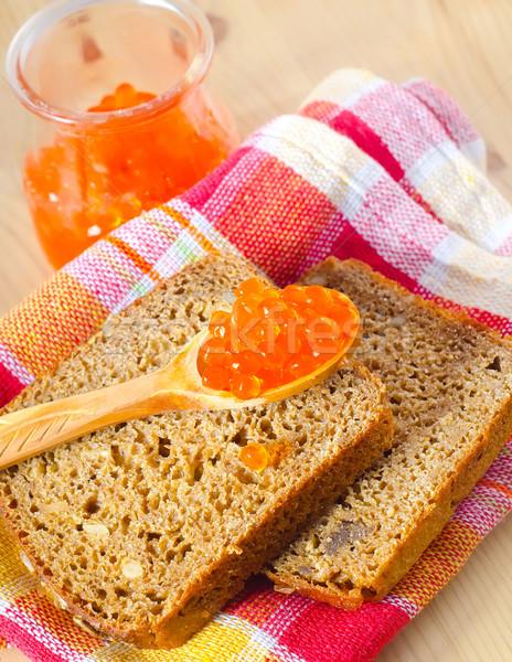 Pão caviar comida trigo prato café da manhã Foto stock © tycoon