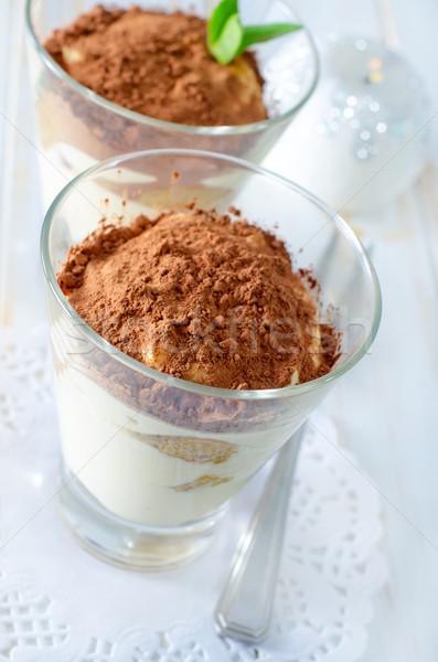 Foto stock: Tiramisu · alimentos · vidrio · fondo · torta · negro