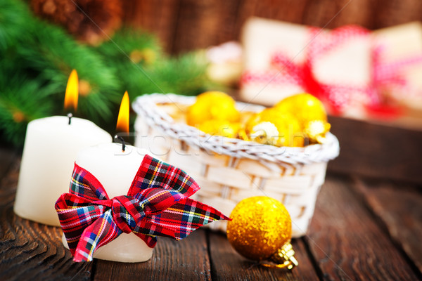 Candele nastro tavola Natale decorazione morte Foto d'archivio © tycoon