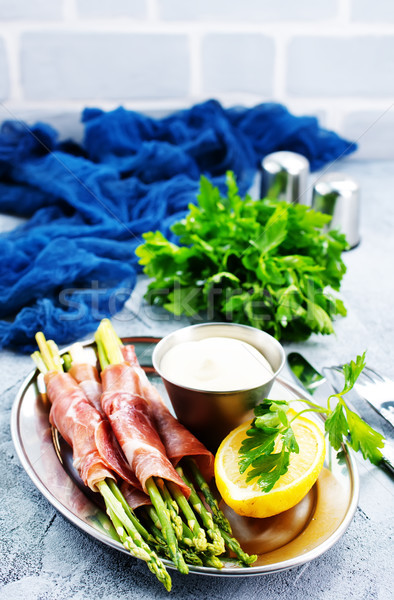 Zdjęcia stock: Zielone · szparagów · boczek · tabeli · ser · obiedzie