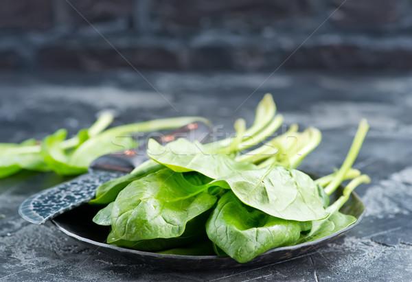 свежие шпинат пластина таблице зеленый листьев Сток-фото © tycoon