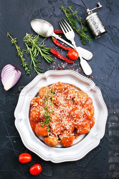 Klopsiki ser sos tablicy żywności pomidorów Zdjęcia stock © tycoon