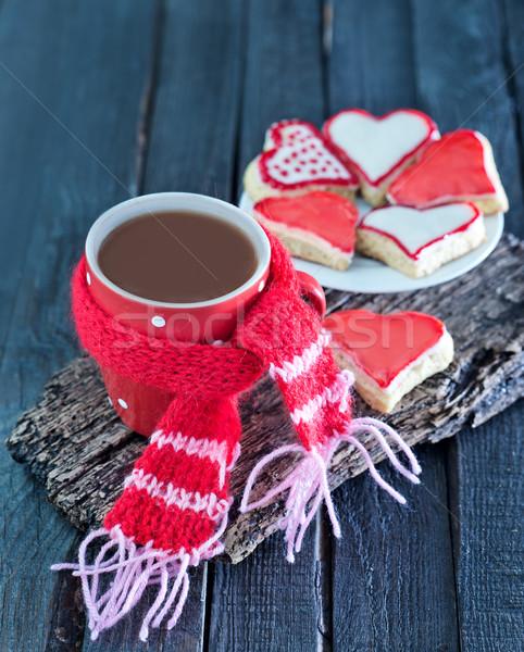 Stockfoto: Cookies · beker · zoete · drinken · tabel · voedsel