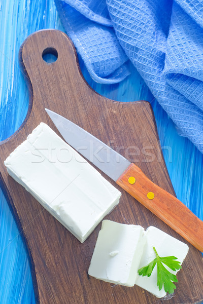 Achtergrond mes eten witte boord Stockfoto © tycoon