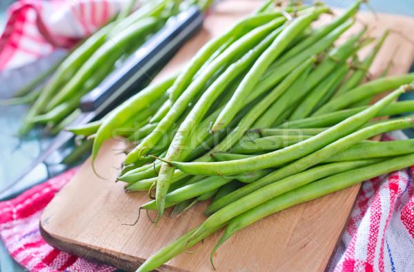 зеленая фасоль древесины кухне зеленый Салат совета Сток-фото © tycoon