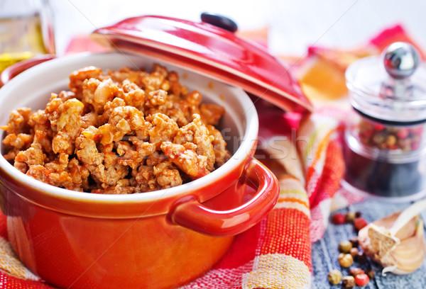 Carne alimentos madera vidrio cocina cena Foto stock © tycoon