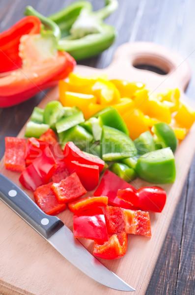 Color pimienta madera fondo cocina verde Foto stock © tycoon