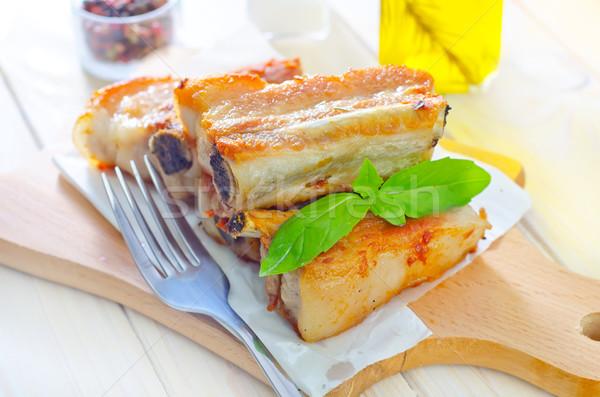 Stock fotó: Sült · hús · étel · nyár · tányér · élet