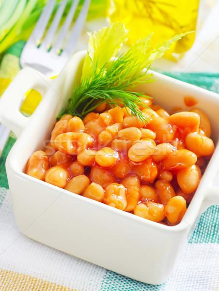 Bianco bean salsa di pomodoro cena piatto mais Foto d'archivio © tycoon