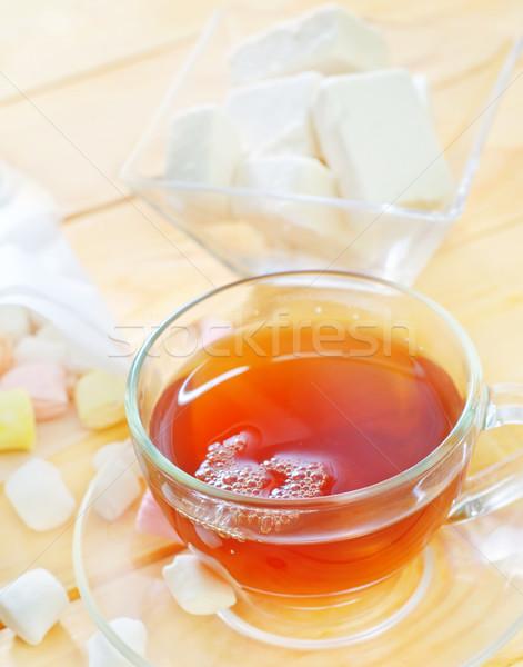 Stock fotó: Friss · tea · cukorka · otthon · retro · csésze