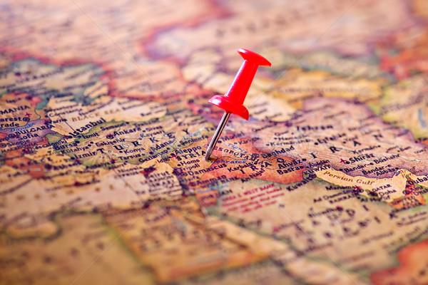 Oude kaart kaart textuur wereld metaal kompas Stockfoto © tycoon