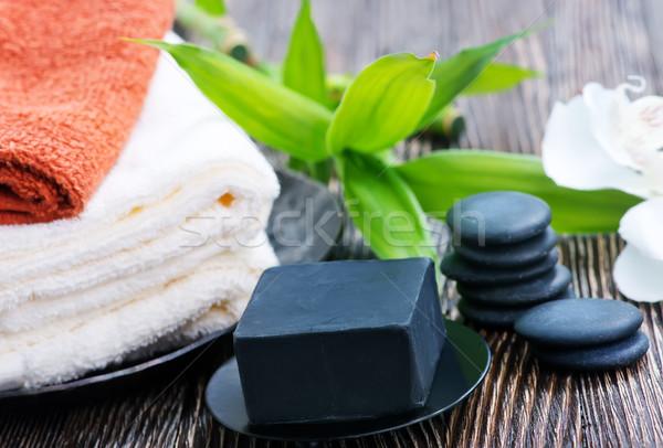 Spa objecten tabel massage lichaam bladeren Stockfoto © tycoon