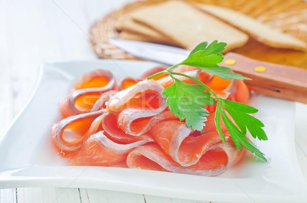 salmon and toasts Stock photo © tycoon